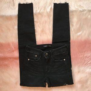 Zara Black Skinny Jeans w/ Silver Floral Embroider